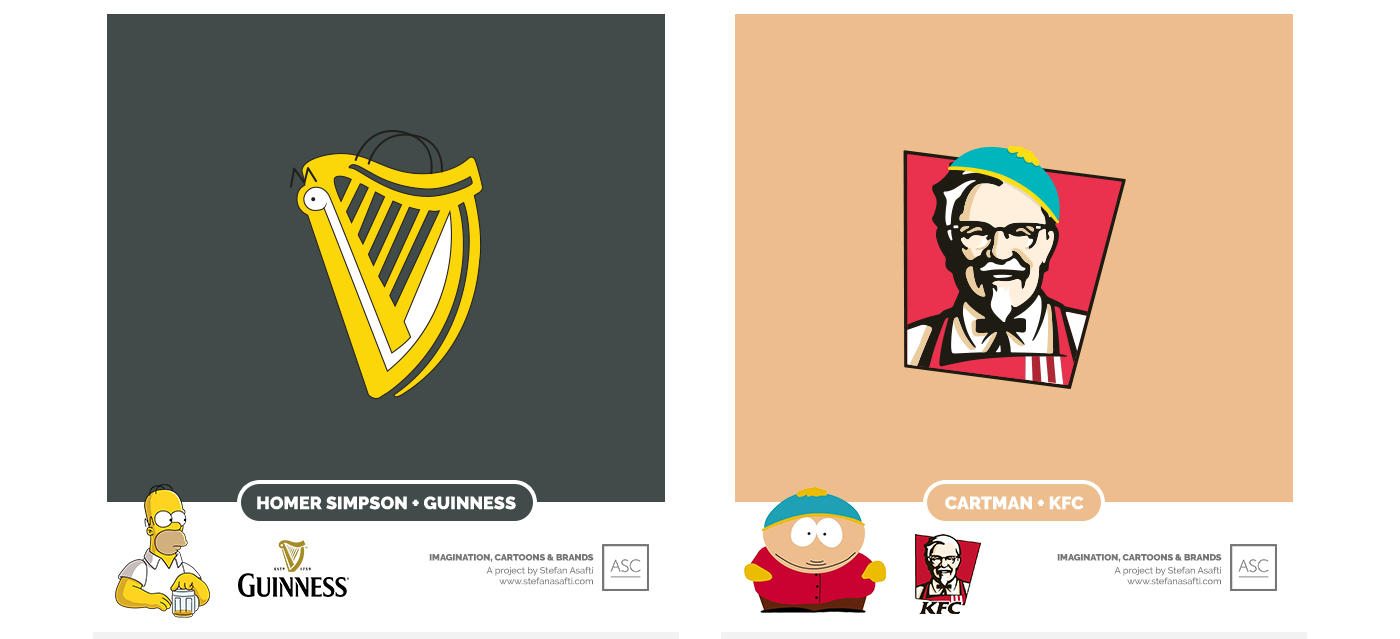 guinness and kfc, hommer simpson, cartman